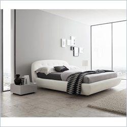 Rossetto Eclipse Leather Effect Platform Bed in White - Queen