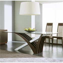 Rossetto Mirage Clear Glass Dining Table in Wenge
