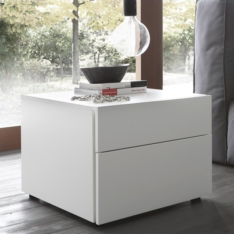Start 2 Drawer Night Stand in White