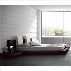 Rossetto Win Floating Platform Bed in Wenge without Lights - Queen