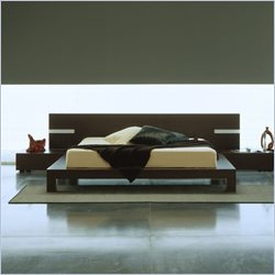 Rossetto Win Platform Bed in Wenge With Lights - Queen