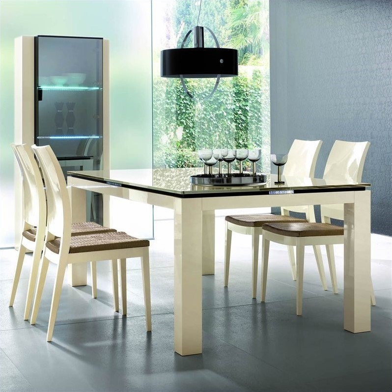 Diamond Rectangular Dining Table in Ivory with Glass Top