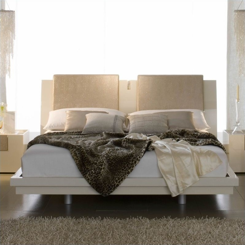 Rossetto Diamond Platform Bed in Ivory
