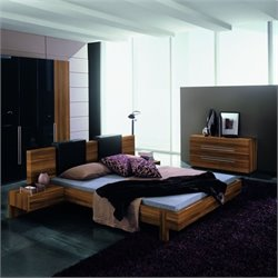 Rossetto Gap Platform Bed 4 Piece Bedroom Set in Walnut