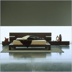 Rossetto Win Platform Bed with Lights 3 Piece Bedroom Set in Wenge