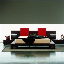 Rossetto Win Platform Bed with Lights 5 Piece Bedroom Set in Wenge