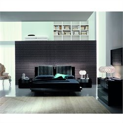 Rossetto Diamond Platform Bed 4 Piece Bedroom Set in Black