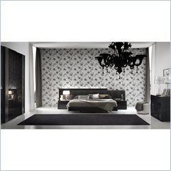Rossetto Nightfly Platform Bed 6 Piece Bedroom Set in Ebony