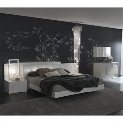 Rossetto Nightfly Platform Bed 5 Piece Bedroom Set in Lacquer White