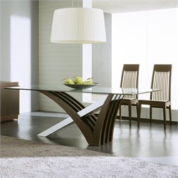 Rossetto Mirage 3 Piece Clear Glass Dining Table Set in Wenge