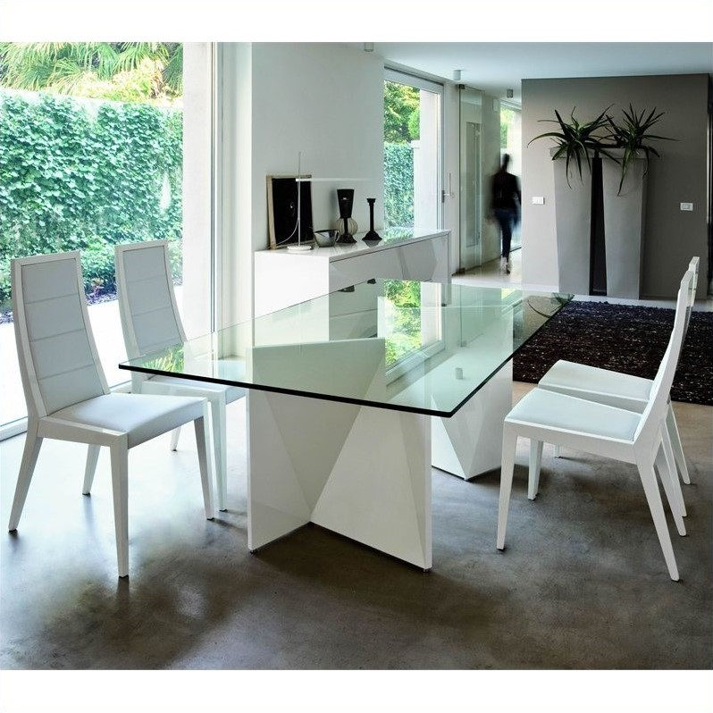 Rossetto Sapphire 6 Piece Glass Top Dining Table Set In White R348201000017