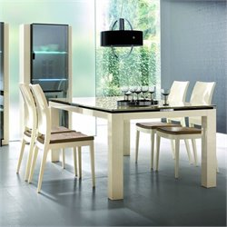 Rossetto Diamond 5 Piece Rectangular Dining Table Set in Ivory