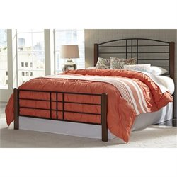 Fashion Bed Dayton Queen Metal Bed in Black Grain