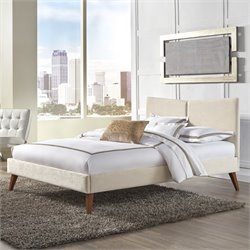 Fashion Bed Parkland Upholstered Queen Platform Bed in Ivory