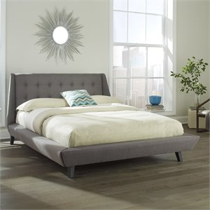 Fashion Bed Prelude Upholstered Platform Bed in Ash