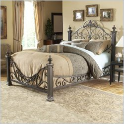 Fashion Bed Baroque Metal Queen Poster Bed in Gilded Slate