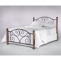 Fashion Bed Doral Metal Poster Headboard in Black and Walnut - Twin