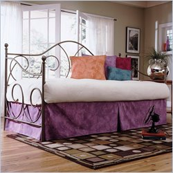 Fashion Bed Caroline Metal Daybed in Flint  Finish with Pop-Up Trundle