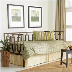 Fashion Bed Miami Metal Daybed in Coffee Finish with Pop-Up Trundle