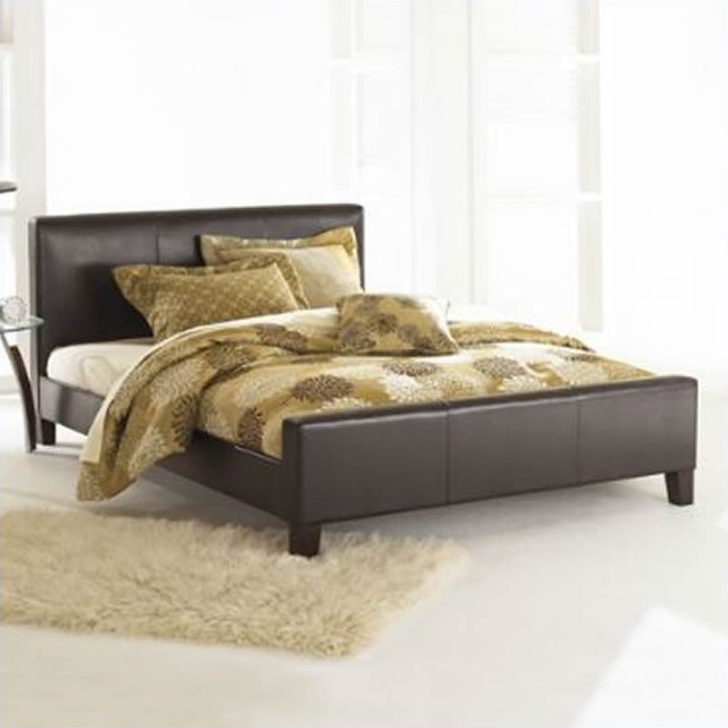 Euro Leather Platform Bed in Sable Finish
