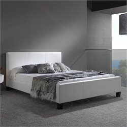Fashion Bed Euro Leather Platform Bed in White - California King