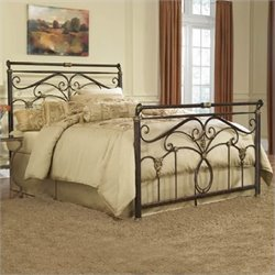 Fashion Bed Lucinda Metal Sleigh Bed in Marbled Russet Finish - Full
