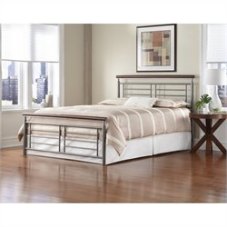 Fashion Bed Fontane Metal Bed in Silver and Cherry - Full size