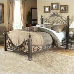 Fashion Bed Baroque Metal King Poster Bed in Gilded Slate