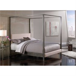 Fashion Bed Avalon Upholstered Canopy Bed in Platinum