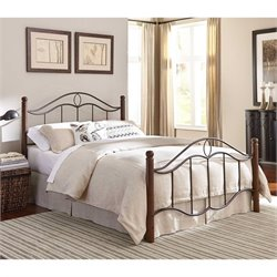 Fashion Bed Cassidy Metal Poster Bed in Walnut