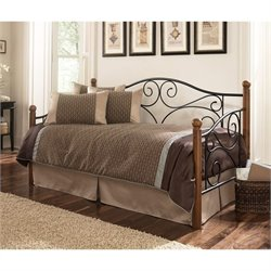 Fashion Bed Doral Daybed with Link Spring in Matte Black and Walnut