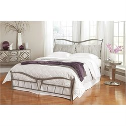 Fashion Bed Snap Lotus King Metal Bed in Brushed Pewter