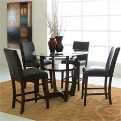 Standard Furniture Apollo Round Glass Counter Height Dining Table in Merlot