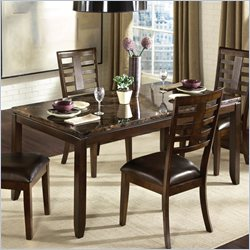 Standard Furniture Bella Marbella Top Rectangular Dining Table in Chocolate Cherry