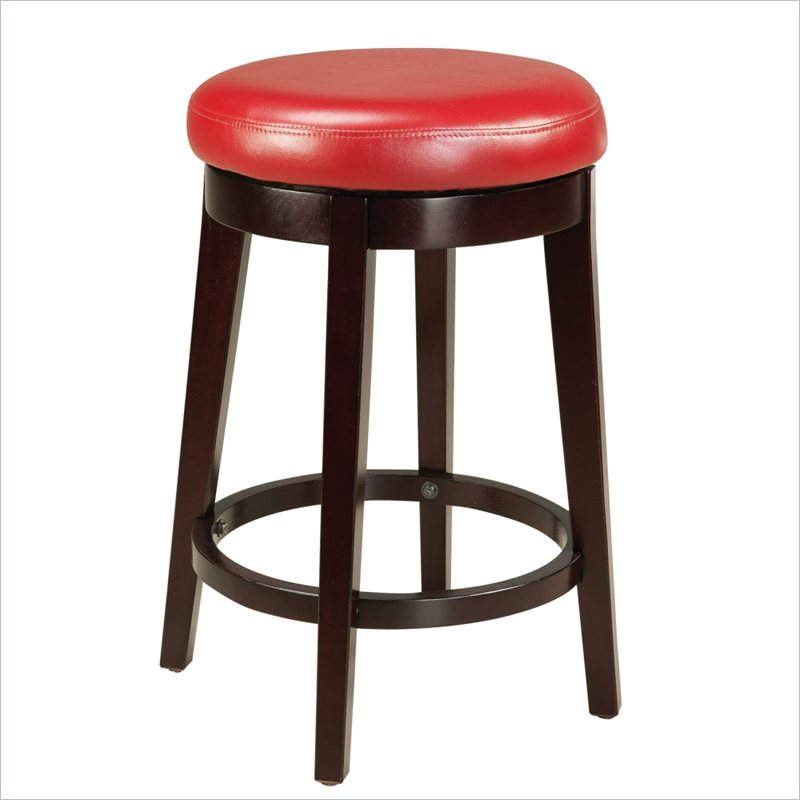 26 Quot Round Backless Swivel Counter Stool In Red Lc450bare26