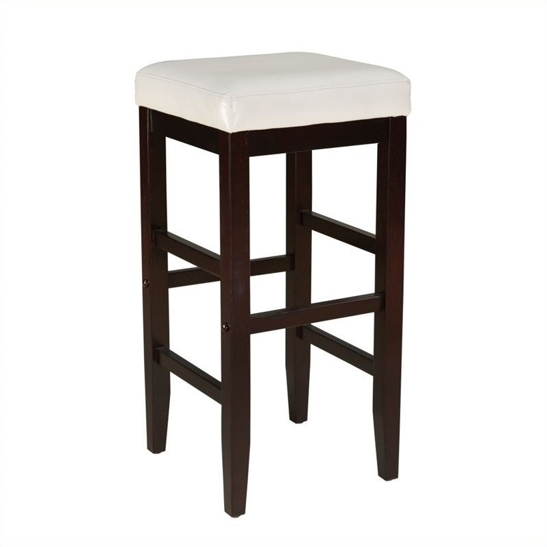 Smart Stools Bar Height Square White Upholstered