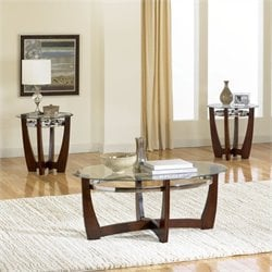 Standard Furniture Apollo 3 Piece Coffee Table Set in Merlot