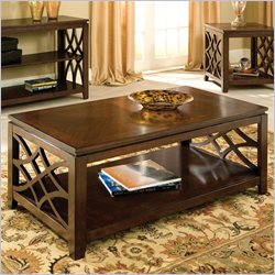 Standard Furniture Woodmont Coffee Table with Casters in Brown Cherry