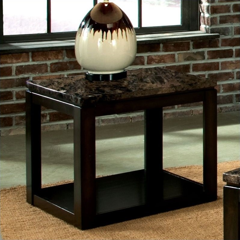 Bella End Table with Marbella in Warm Chocolate