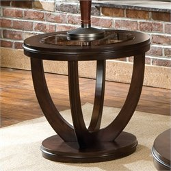 Standard Furniture La Jolla Round End Table in Dark Merlot