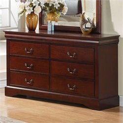 Standard Furniture Lewiston 6 Drawer Dresser in Deep Brown Finish