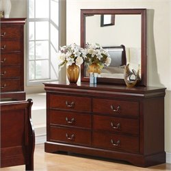 Standard Furniture Lewiston Dresser and Mirror Set in Deep Brown