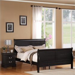 Standard Furniture Lewiston Sleigh Bed in Black Finish - Twin Size