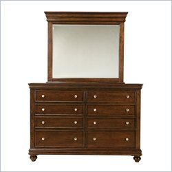 Standard Furniture Essex Dresser and Mirror Set in Rich Dark Merlot