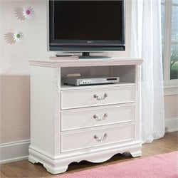 Standard Furniture Jessica TV Stand in Clean White Finish