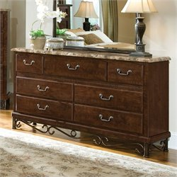 Standard Furniture Santa Cruz 7 Drawer Dresser in Cherry with  Marbella Top