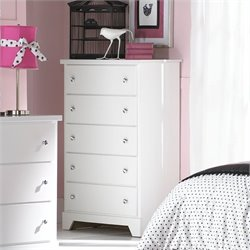 Standard Furniture Marilyn 5 Drawer Chest in Glossy White