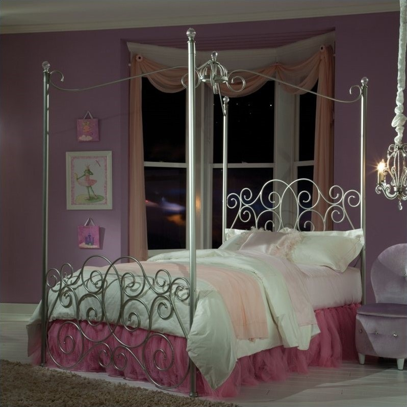 Standard Furniture Princess Canopy Bed in Silver Finish