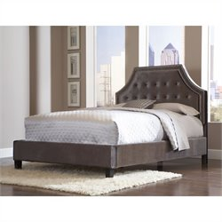 Standard Furniture Wilshire Boulevard Bed in Grey Velvet - Queen