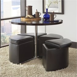 Standard Furniture Cosmo Round Wood Table Set in Warm Chocolate Cherry